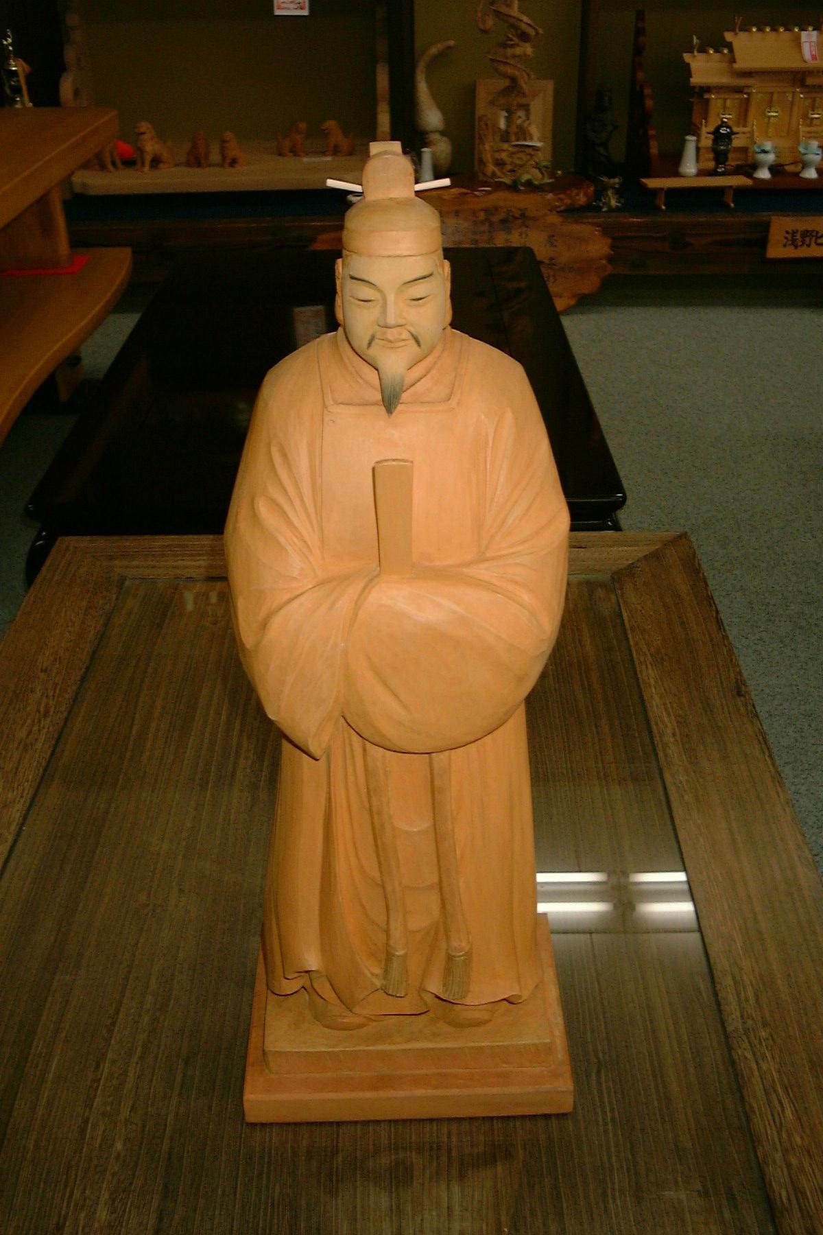 浅野侊陽作 木彫り「立ち天神」ご尊顔